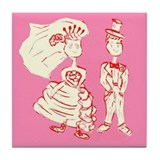 Valentine's Day Bride & Groom Tile Coaster