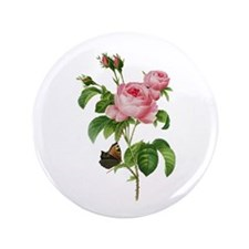 "Pierre-Joseph Redoute Rose 3.5"" Button"