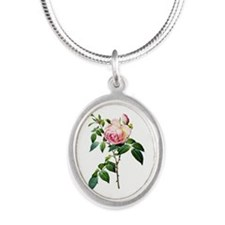 Pierre-Joseph Redoute Rose Silver Oval Necklace