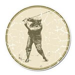 Golfer Round Car Magnet