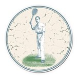 Tennis Player, Vintage Round Car Magnet