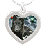 Belgian Sheepdog Silver Heart Necklace
