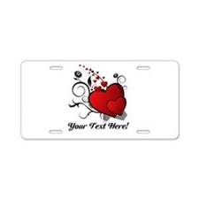 Personalized Red/Black Hearts Aluminum License Pla