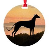 sunset greyhound sq dog.jpg Round Ornament