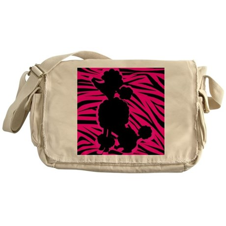 Zebra Striped Pink and Black Poodle Messenger Bag