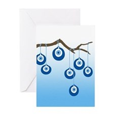 Blue Eye Amulets On Branch Greeting Card