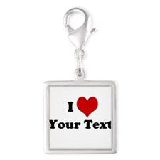 Customized I Love Heart Silver Square Charm