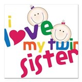 "Twin Sister Square Car Magnet 3"" x 3"""
