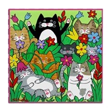 Funny Arts cats Tile Coaster