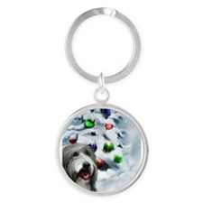 Bearded Collie Round Keychain