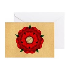 Red Rose Of Lancaster Greeting Cards (Pk of 10)