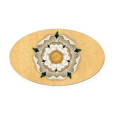 White Rose Of York Oval Car Magnet