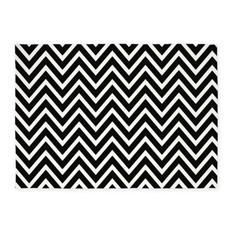 ... Black Bedroom Décor > Black and White Chevron Stripes 5x7Are...