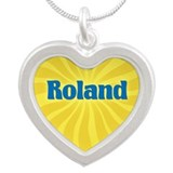Roland Sunburst Silver Heart Necklace