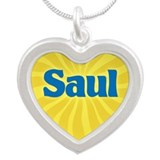 Saul Sunburst Silver Heart Necklace
