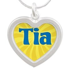 Tia Sunburst Silver Heart Necklace