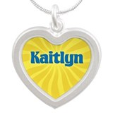 Kaitlyn Sunburst Silver Heart Necklace