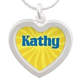 Kathy Sunburst Silver Heart Necklace