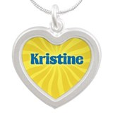 Kristine Sunburst Silver Heart Necklace