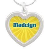 Madelyn Sunburst Silver Heart Necklace