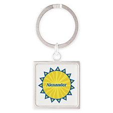 Alexander Sunburst Square Keychain
