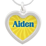 Aiden Sunburst Silver Heart Necklace