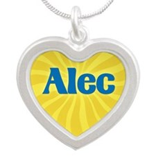 Alec Sunburst Silver Heart Necklace