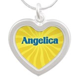 Angelica Sunburst Silver Heart Necklace