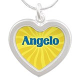 Angelo Sunburst Silver Heart Necklace