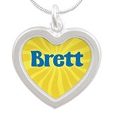Brett Sunburst Silver Heart Necklace