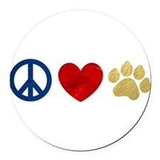 Peace Love Paw Print Round Car Magnet