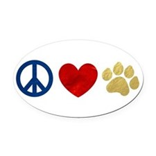 Peace Love Paw Print Oval Car Magnet