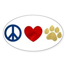 Peace Love Paw Print Stickers