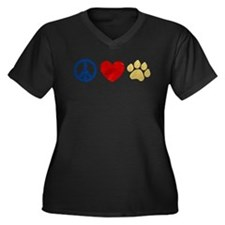 Peace Love Paw Print Women's Plus Size V-Neck Dark