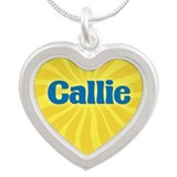 Callie Sunburst Silver Heart Necklace