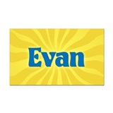 Evan Sunburst Retangular Car Magnet