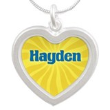 Hayden Sunburst Silver Heart Necklace