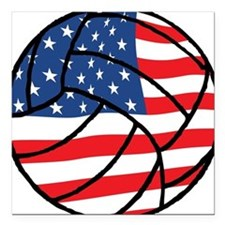 "US Flag Volleyball Square Car Magnet 3"" x 3"""