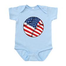 US Flag Baseball Infant Bodysuit