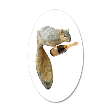 Squirrel Champagne 20x12 Oval Wall Decal