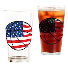 US Flag Basketball Drinking Glass