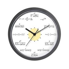 Math Clock (white with yellow center) Wall Clock