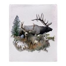Buck deer bull elk Throw Blanket
