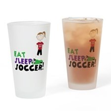 Eat Sleep Soccer Drinking Glass