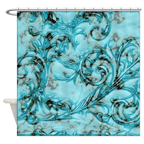 Teal Floral Shower Curtain By Cheriverymery