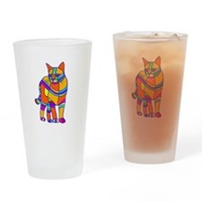 Stripped Cat Drinking Glass