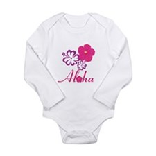 Pink Hibiscus Aloha Long Sleeve Infant Bodysuit