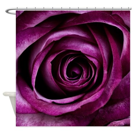 Deep purple rose shower curtain by glamourgirls2 for Deep purple bathroom ideas