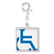 Handicapped Silver Square Charm