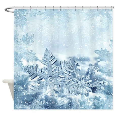 Snowflake Crystals Shower Curtain By Showercurtainshop